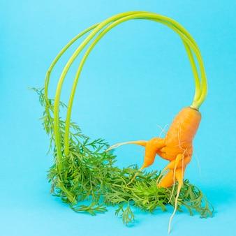 Vreemd grappig gevormde wortelen op een blauwe ruimte. groentegewassen concept, levitatie-effect. minimalisme, kopieer ruimte. lelijke wortel.