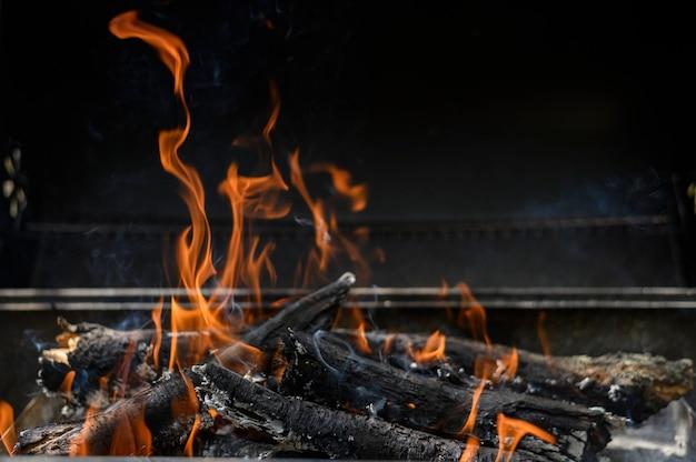 Vreugdevuur in de grill, koken op de camping