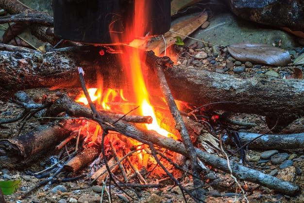 Vreugdevuur met oranje vlammen en brandhout