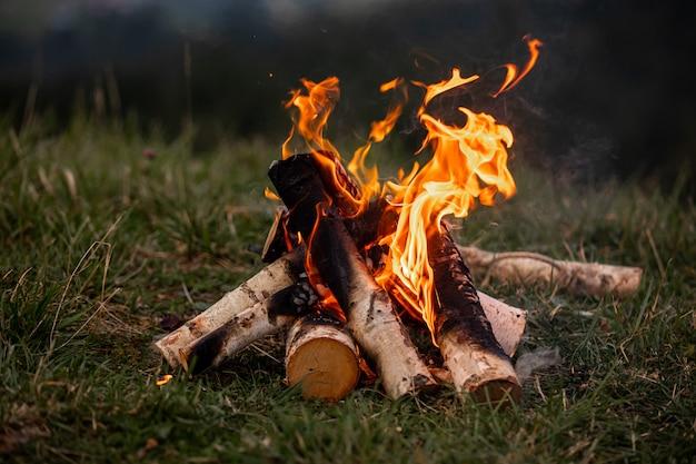 Vreugdevuur. oranje vlam van een vuur. vreugdevuur op de grill met rook. vreugdevuur achtergrond. kampvuur omgeven