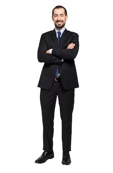 Vriendelijke manager geïsoleerd op wit