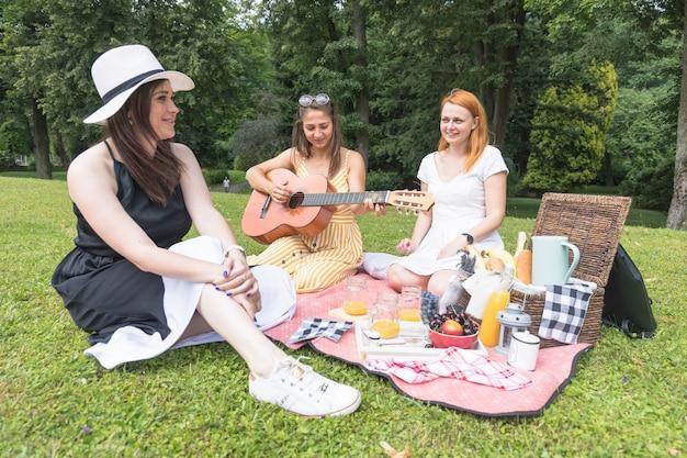 Vrienden die van de muziek op picknick in het park genieten