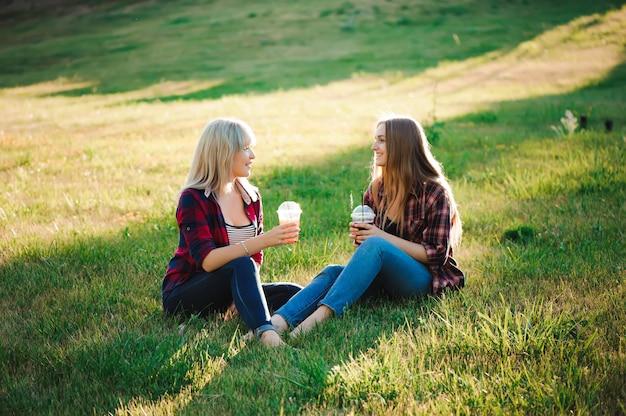 Vrienden hebben plezier in het park en drinken smoothies tijdens een picknick.