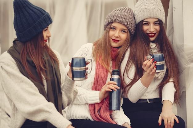 Vrienden in een winterpark. meisjes in een gebreide hoed. vrouwen met thermoskan en thee.