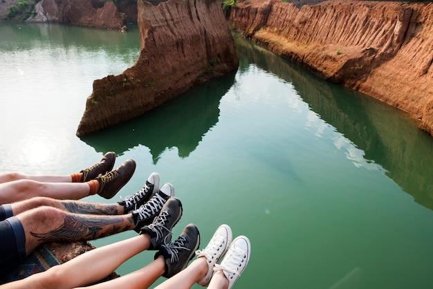 Vrienden reizen vakantie avontuur samen concept