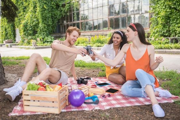 Vrienden, toast. jonge vrolijke mensen zitten met een drankje in uitgestrekte hand naar elkaar op plaid in park op zonnige dag