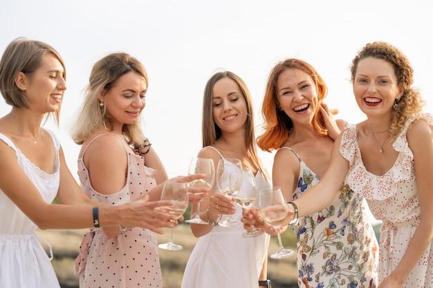 Vriendinnen geniet van een zomerpicknick en hef glazen met wijn
