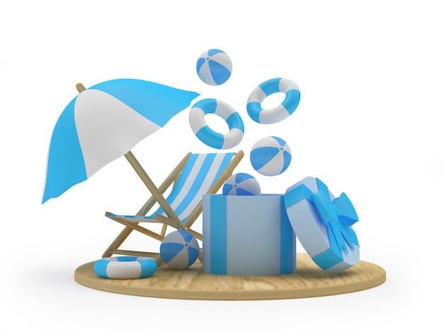 Vrijetijdsstrandaccessoires vliegen uit een geschenkdoos en een chaise longue