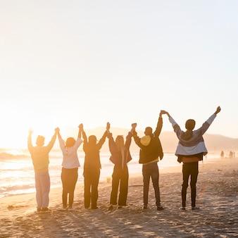 Vrijheid mensen achtergrond, geluk en hoop hd-foto