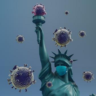 Vrijheidsbeeld dragen chirurgie masker. red vs van coronavirus covid 19. 3d-rendering.