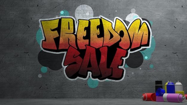 Vrijheidsverkoop graffiti op concrete muurtextuur stenen muurachtergrond. 3d-rendering