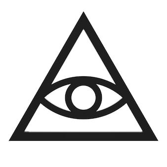 Vrijmetselaar en spirituele alziend oog piramide verlichting symbool op een witte achtergrond. 3d-rendering