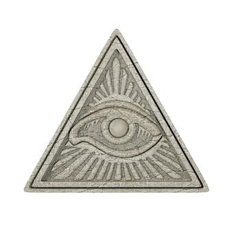 Vrijmetselaars symbool concept. alziend oog in piramidedriehoek als steen op een witte achtergrond. 3d-rendering.