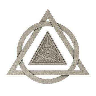 Vrijmetselaars symbool concept. alziend oog in piramidedriehoek als steen op een witte achtergrond. 3d-rendering