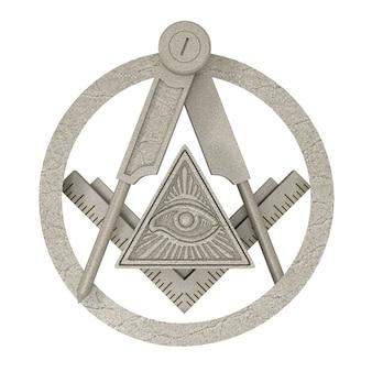 Vrijmetselaars vrijmetselarij stenen plein en kompas met alziend oog binnen piramide driehoek embleem pictogram logo symbool op een witte achtergrond. 3d-rendering