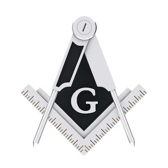 Vrijmetselaars vrijmetselarij zilver vierkant en kompas met g brief embleem pictogram logo symbool op een witte achtergrond. 3d-rendering