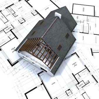 Vrijstaand huis op architectenblauwdrukken