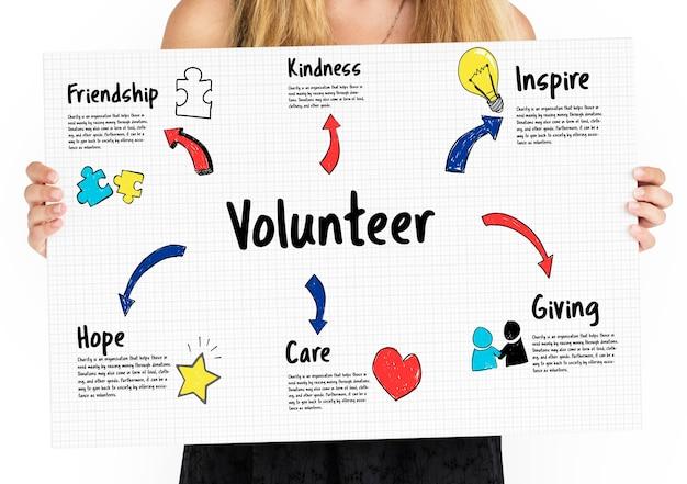 Vrijwilliger charity inspire icoon geven