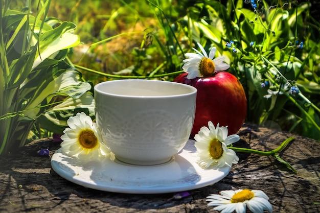 Vroege zonnige zomerochtend in de natuur en een witte kop thee op het groene gras en fruit