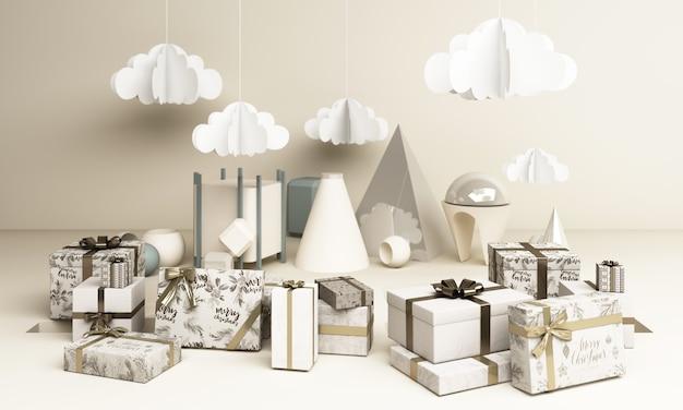Vrolijk ð¡hristmas en een gelukkig nieuwjaar. abstract minimaal ontwerp, geometrische kerst, geschenkdoos,