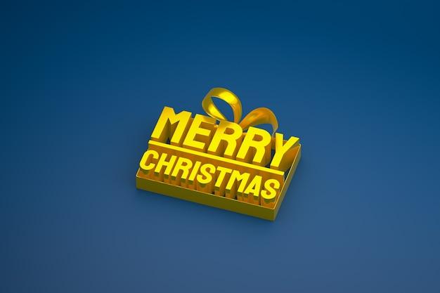 Vrolijk kerstfeest 3d-ontwerp met lint en boog op blauwe achtergrond