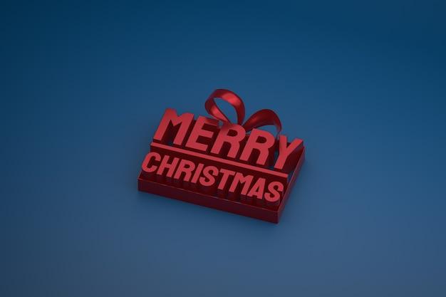 Vrolijk kerstfeest 3d-ontwerp met lint en boog op donkere achtergrond