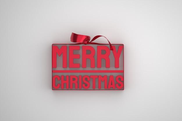 Vrolijk kerstfeest 3d-ontwerp met lint en boog op witte achtergrond