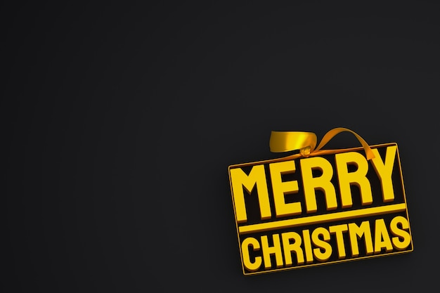 Vrolijk kerstfeest 3d-ontwerp met lint en boog op zwarte achtergrond