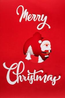 Vrolijk kerstfeest belettering en santa
