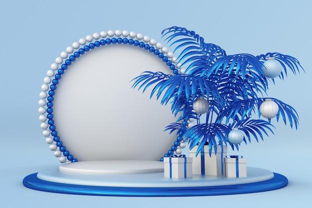 Vrolijk kerstfeest gelukkig nieuwjaar 3d blauw podium met abstracte tropische palmbomen feestelijke geschenkdozen