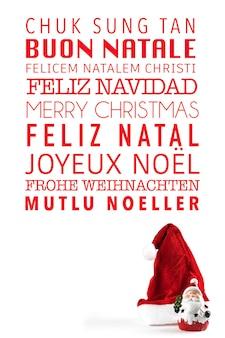 Vrolijk kerstfeest geschreven in veel verschillende talen.