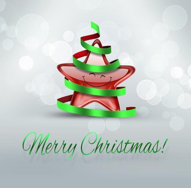 Vrolijk kerstfeest grappige wenskaart met lachende ster in kerstboomkostuum