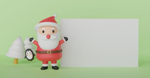 Vrolijk kerstfeest, kerstvieringen met de kerstman en pinguïn met ruimte voor tekst. .