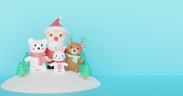 Vrolijk kerstfeest, kerstvieringen met de kerstman en vrienden met ruimte voor tekst. 3d-weergave.