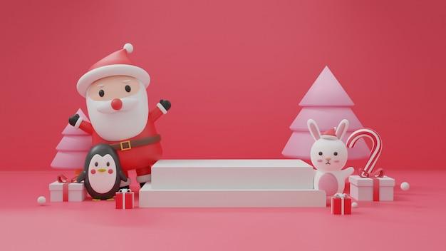 Vrolijk kerstfeest, kerstvieringen met kerstman en pinguïn met podium voor een product. .