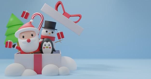 Vrolijk kerstfeest, kerstvieringen met kerstman, pinguïn, sneeuwpop voor kerstkaart