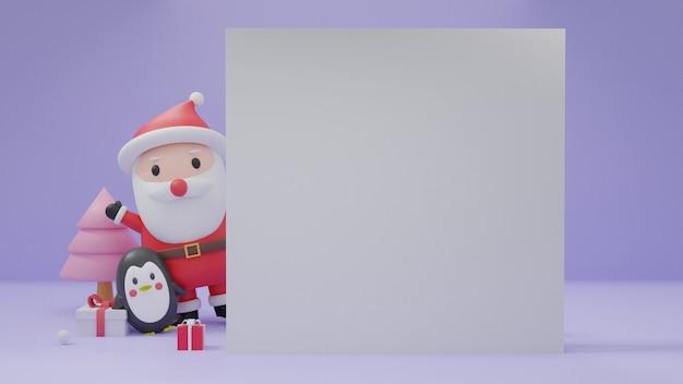 Vrolijk kerstfeest met ruimte voor tekst, kerstvieringen met pinguïn en sneeuwpop