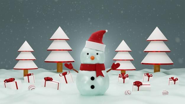 Vrolijk kerstfeest met sneeuwpop en geschenkdoos op sneeuw.