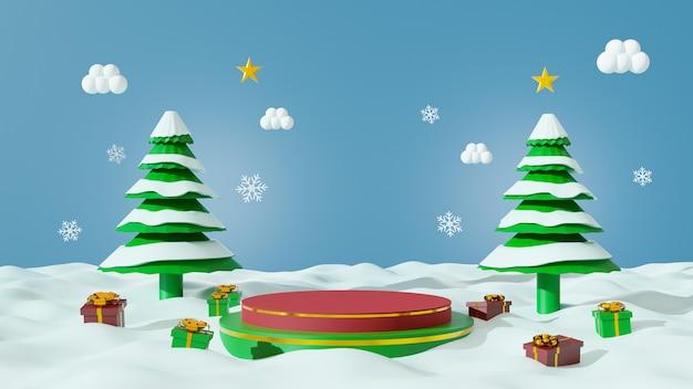 Vrolijk kerstfeest voor productpresentatie podium 2 laag met geschenkdoos en kerstboom op sneeuw. 3d-weergave