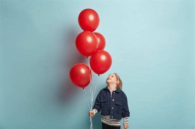 Vrolijk klein meisje heft het hoofd op en kijkt aandachtig naar rode luchtballonnen, draagt modieus spijkerjack, bereidt zich voor om verjaardag te vieren, modellen over blauwe muur, speelt binnen. feest voor kinderen