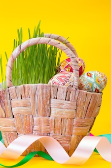 Vrolijk pasen - mand met mooi paasei pysanka handgemaakt op een gele achtergrond. oekraïens traditioneel