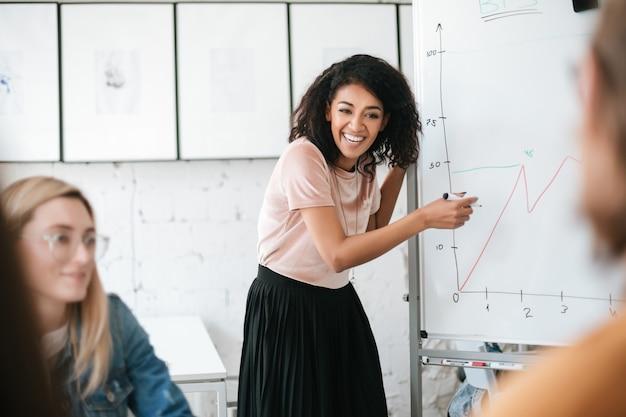Vrolijke afro-amerikaanse jong meisje met donker krullend haar permanent in de buurt van bord en presentatie geven aan collega's in kantoor