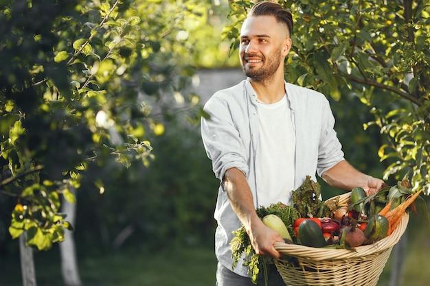 Vrolijke boer met biologische groenten in de tuin. gemengde biologische groente in rieten mand.
