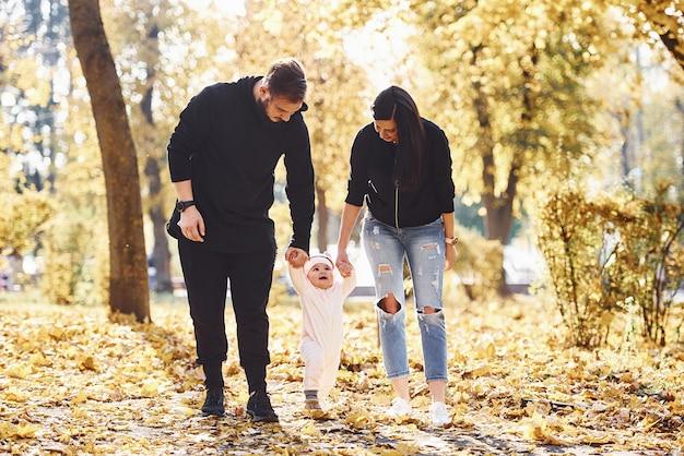 Vrolijke familie die plezier heeft samen met hun kind in een prachtig herfstpark.