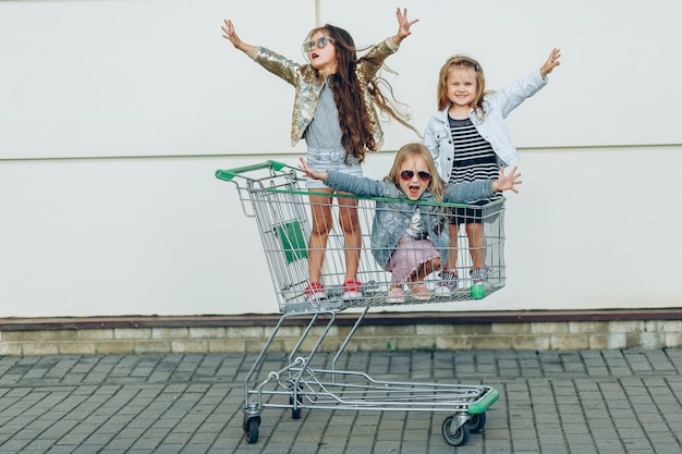 Vrolijke grappige kleine meisjes in het winkelwagentje