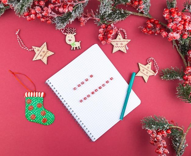 Vrolijke kerstbrieven op notitieboekje
