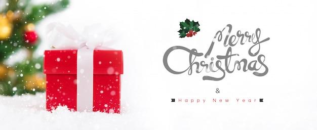 Vrolijke kerstmis en gelukkig nieuwjaar banner achtergrond