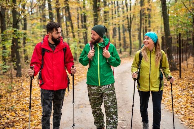 Vrolijke mannen en vrouw met wandelstokken glimlachen en praten met elkaar tijdens het wandelen op pad in herfst bos