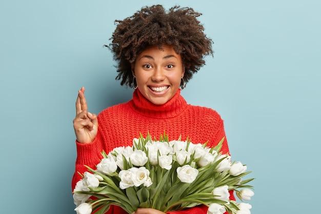 Vrolijke mooie afro-amerikaanse vrouw steekt gekruiste vingers op, bidt voor geluk, heeft een tevreden uitdrukking, draagt een rode trui, houdt witte tulpen vast, gelooft in fortuin, poseert binnen. vrouwen en bloemen