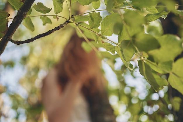 Vrolijke mooie vrouw groene boom bos recreatie